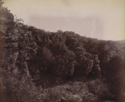 General view of range of northern caves, Gridhrakuta Hill, Rajgir